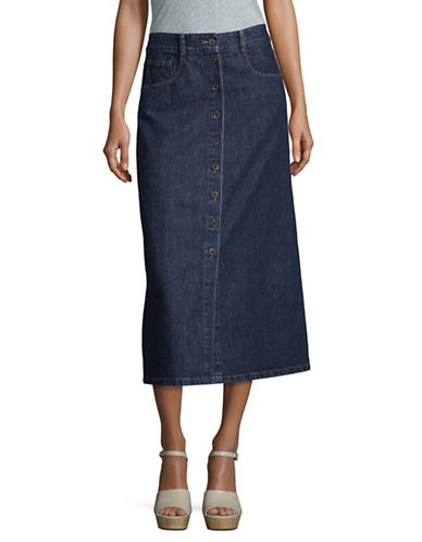 Sea Ny A-Line Denim Midi Skirt-BLUE-0