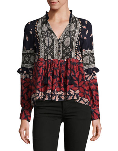 Sea Ny Printed Silk Blouse-RED MULTI-2