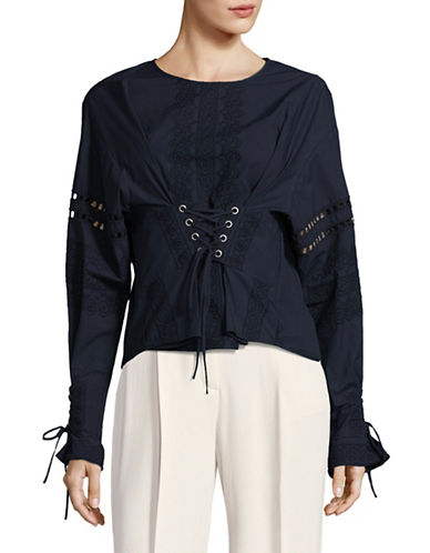 Sea Ny Corset Detail Blouse-NAVY-Small