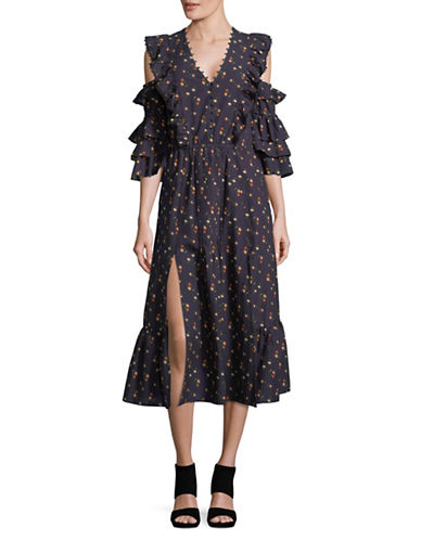 Sea Ny Floral Three-Quarter Sleeve Cotton Midi Dress-BLACK-6