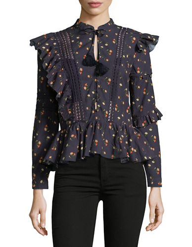 Sea Ny Ruffled Long-Sleeve Cotton Blouse-BLACK-6