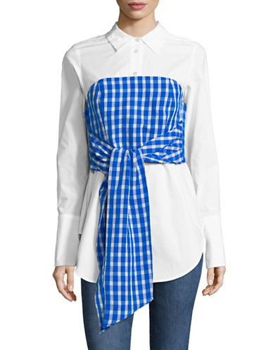 Sea Ny Cher Corset Cotton Shirt-BLUE-8
