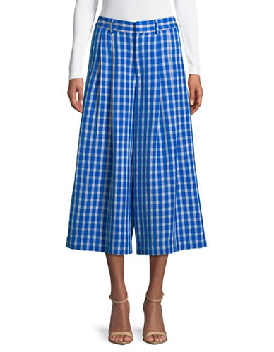 Sea Ny Checkered Wide-Leg Pants-BLUE-2