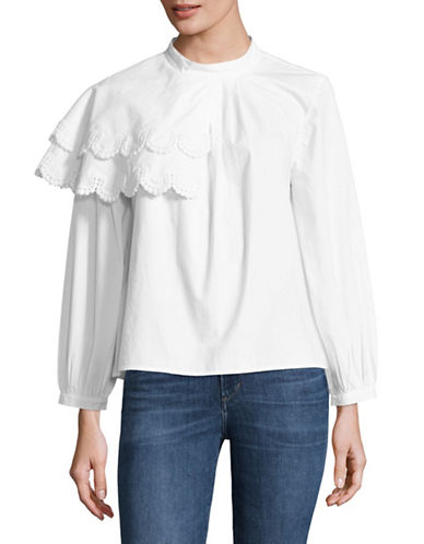 Sea Ny Plymouth Ruffled Cotton Blouse-WHITE-4