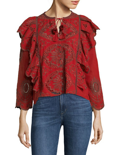Sea Ny Fiona Ruffled Cotton Blouse-BRICK-4