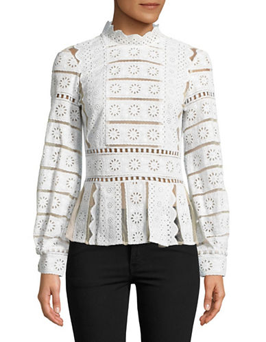 Sea Ny Luna Long-Sleeve Lace Blouse-WHITE-2