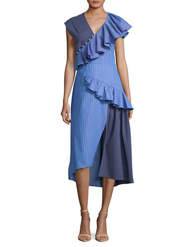Sea Ny Striped Cotton Dress-BLUE-8