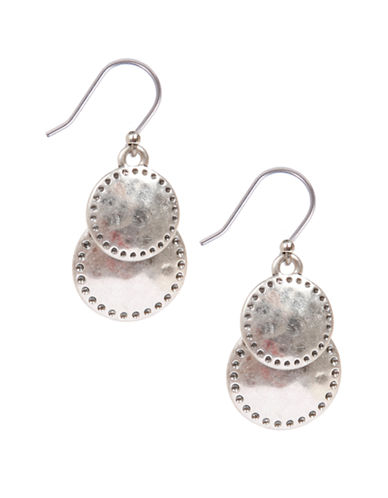 Lucky Brand Silvertone Double Drop Earrings-SILVER-One Size