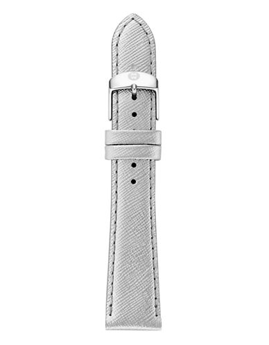 Michele Womens Metallic Chromo Leather Strap MS18AA430543-SILVER-One Size