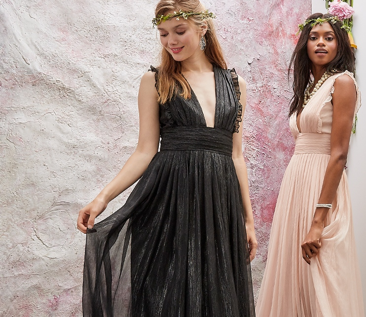 Monique Lhuillier Black Bridesmaid Dress And Blush Dresses At Thebay