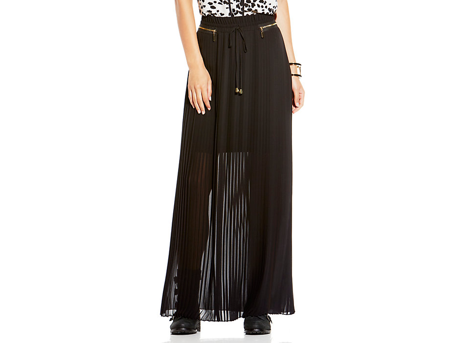 vince camuto zip detail pleated maxi skirt vince camuto