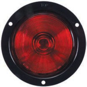 STT47R: Stop, Turn, Tail Light; 4-1/4″ Sealed; Gray flange; PC housing and lens; Red image