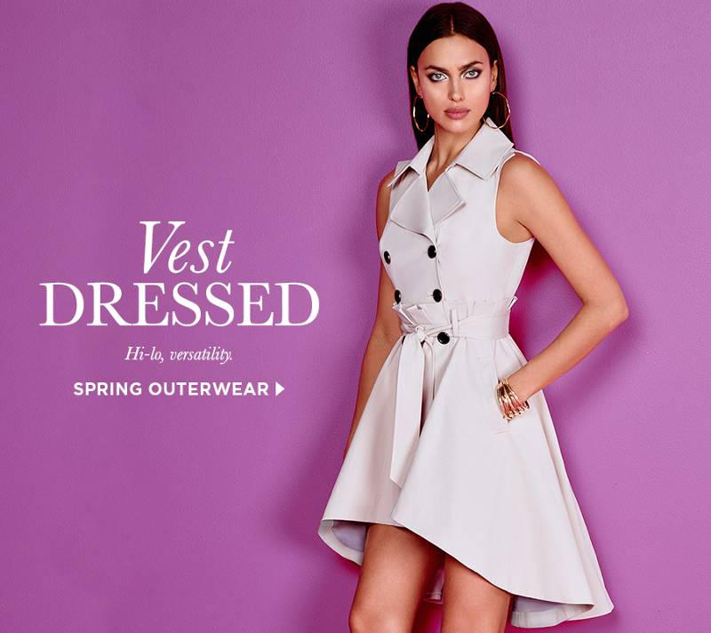 Vest Dressed, hi-lo versatility, click here to shop spring outerwear