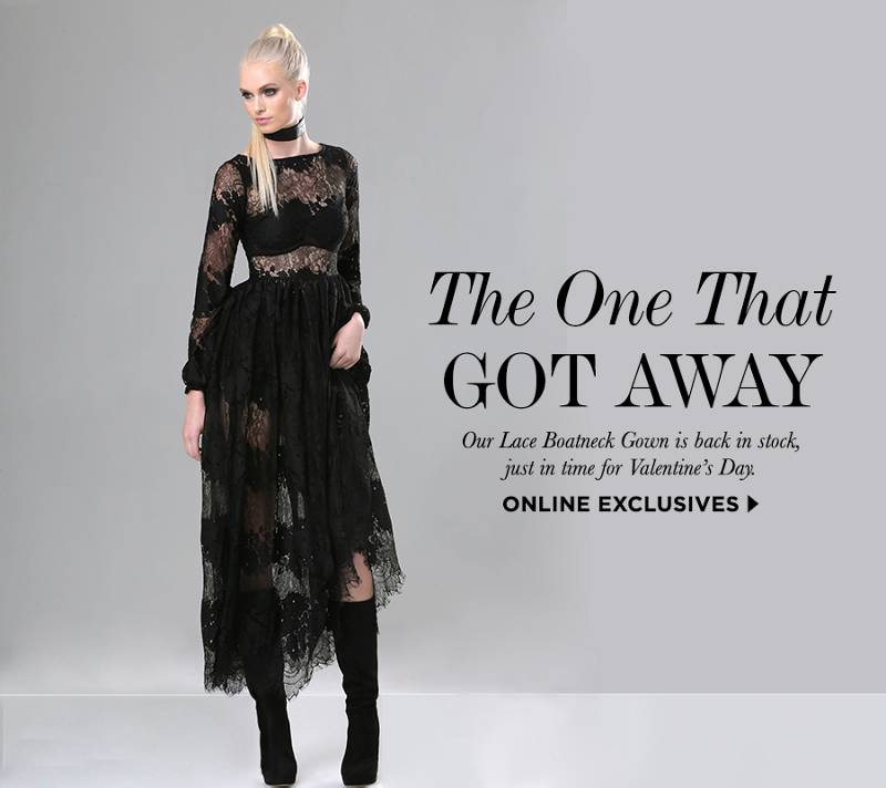 the one that got away. our lace boatneck gown is back in stock, just in time for valentines day.