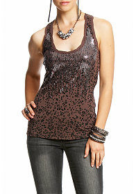 2b Sequin Leopard Print Top