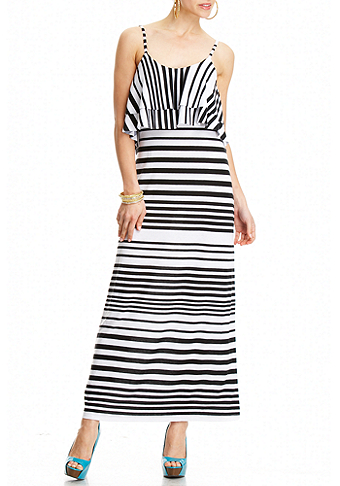 2b Stripe Double Ruffle Maxi Dress