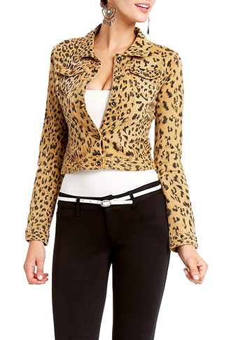 2b Leopard Denim Cropped Jacket