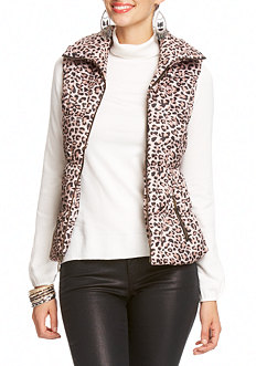 2b Cheetah Print Puffy Zip Vest
