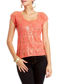 2b Foiled Lace Top
