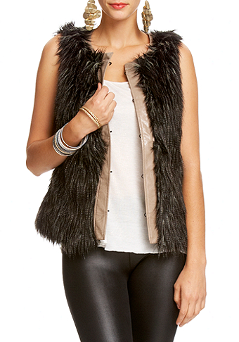 Leatherette Trim Faux Fur Vest at 2b