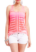 2b Chrystal Hi Low Shadow Stripe Top