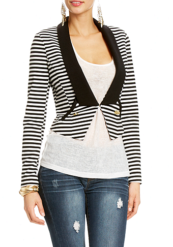2b Shawl Collar Striped Jacket