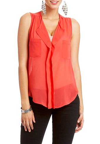 2b Sleeveless V-Neck Pleated Top