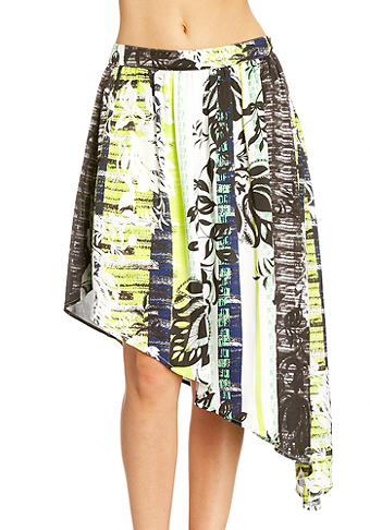 2b Passport Stripe Asymmetrical Skirt
