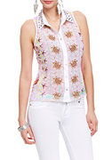 2b Seascape Boarder Studded Button Down Top
