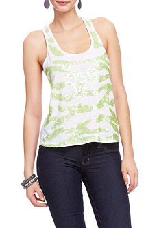 2b Sequin Wave Chiffon Back Tank Top