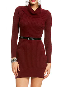 2b 3/4 Sleeve Cowl Neck Sweater Dress