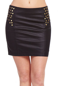 2b Leatherette Stud Yoke Mini Skirt