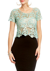 2b Cropped Metallic Lace Top