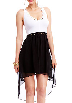 2b Maxine Studded High Low Dress