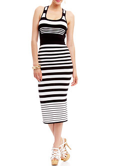 2b Khloe Stripe Bandage Midi Dress