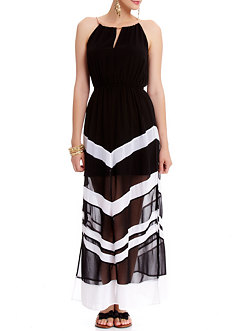 2b Mia Chevron Black Maxi Dress