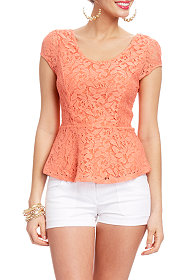 2b Anya Peplum Lace Cut-out Top