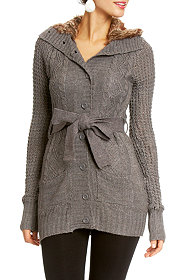 Button Front Faux Fur Trim Sweater at 2b