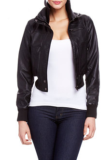 2b Stacey Knit Collar Leatherette Bomber Jacket