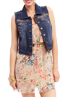 2b Serena Studded Denim Vest
