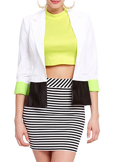 2b Rolled Cuff Colorblocked Blazer