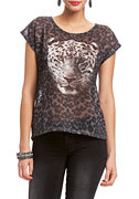 2b Leopard Print High Low Top
