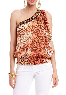 2b Native Animal Alexis One Shoulder Top