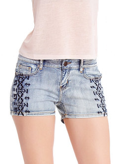 2b Tribal Embroidered Denim Short