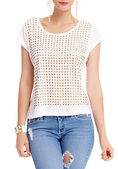 2b Stud Front Panel Crop Top