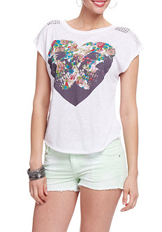 2b Stud Shoulder Printed Tee