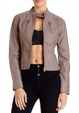 2b Seamed Exposed Leatherette Jacket
