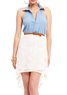 2b Chambray Top Lace High Low Dress