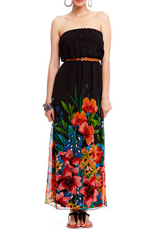 2b Strapless Print Belted Maxi Dress