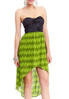 2b Strapless Sweetheart Tribal High Low Dress